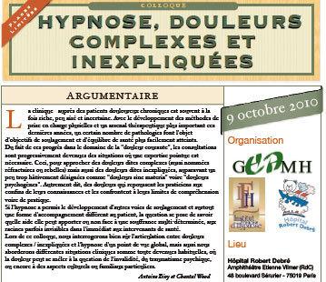 Formation Hypnose paris: Colloque Hypnose, Douleurs Complexes et Inexpliquées.